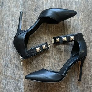Aldo Black Leather Heels Studded Ankle Strap